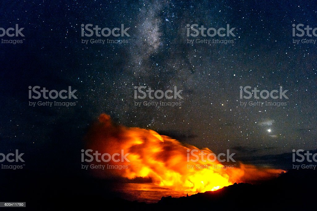 Volcanoes National Park Lava Flowing into Pacific with Milky Way stock photo