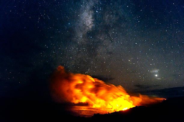 volcanoes national park lava flowing into pacific with milky way - wulkan czynny zdjęcia i obrazy z banku zdjęć
