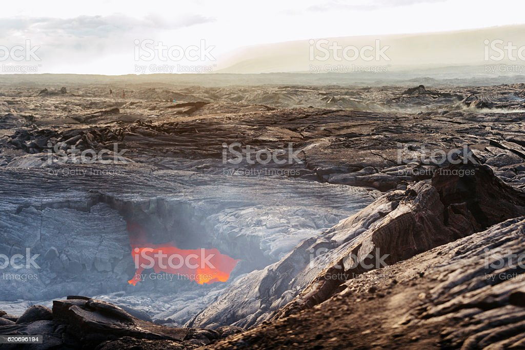 Volcanoes National Park Lava Tube in Volcanic Landscape Hawaii USA stock photo
