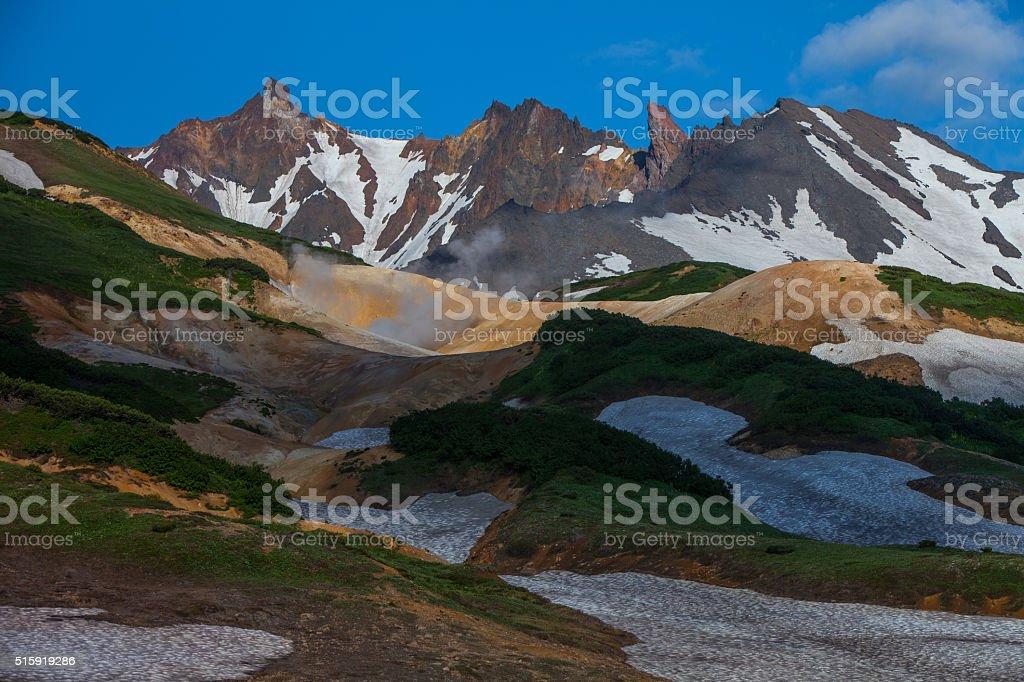 Volcanoes of Kamchatka stock photo