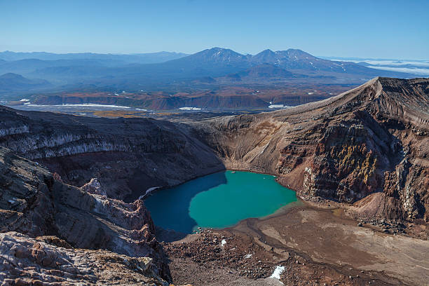 Volcanoes of Kamchatka Volcanoes of Kamchatka in Russia, Crater of Gorely Volcano orizaba stock pictures, royalty-free photos & images