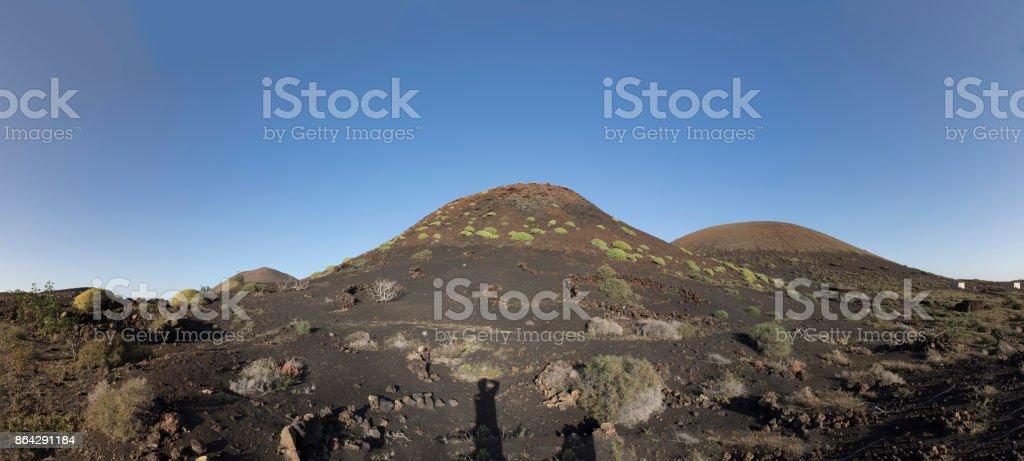 volcanos in Timanfaya national park near Mancha Blanca royalty-free stock photo