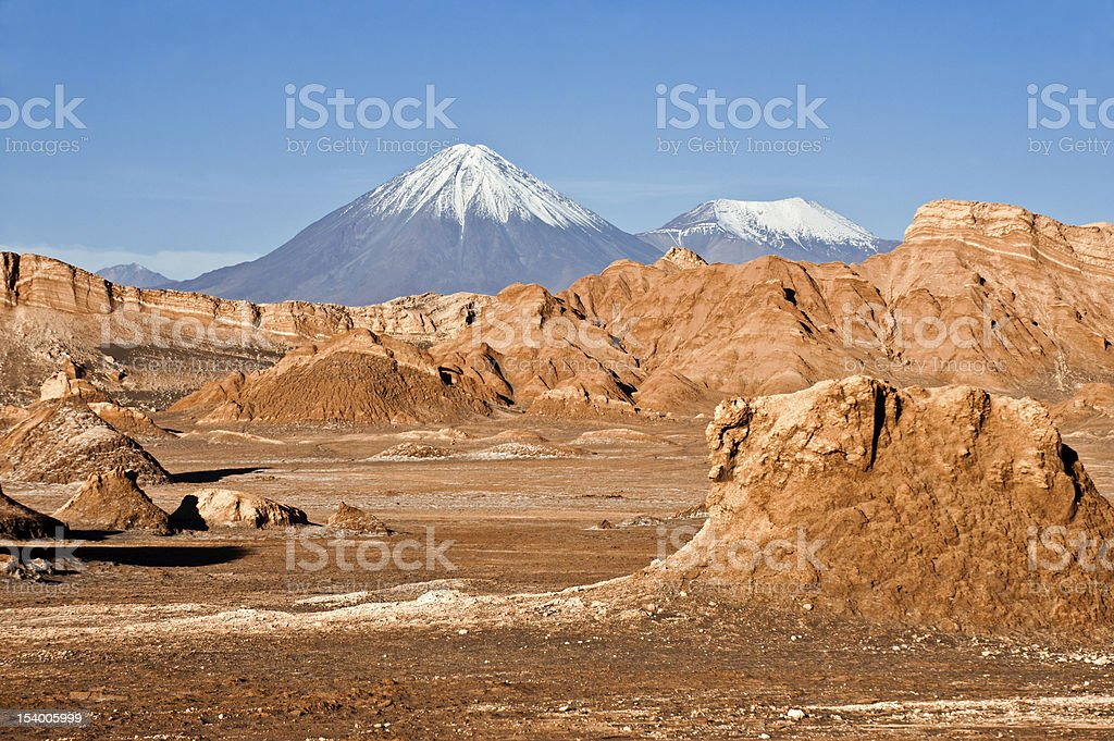 Volcanos Licancabur and Juriques, Moon Valley, Chile stock photo