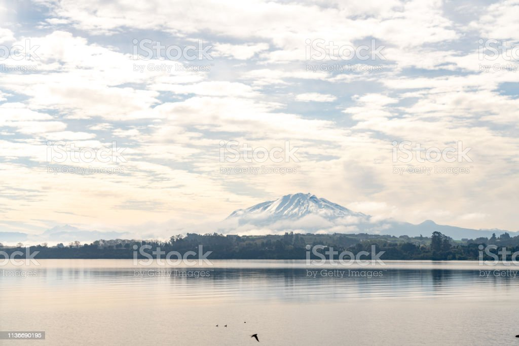 Volcán Calbuco at dawn in Chilean Lake District - Puerto Varas, Chile stock photo