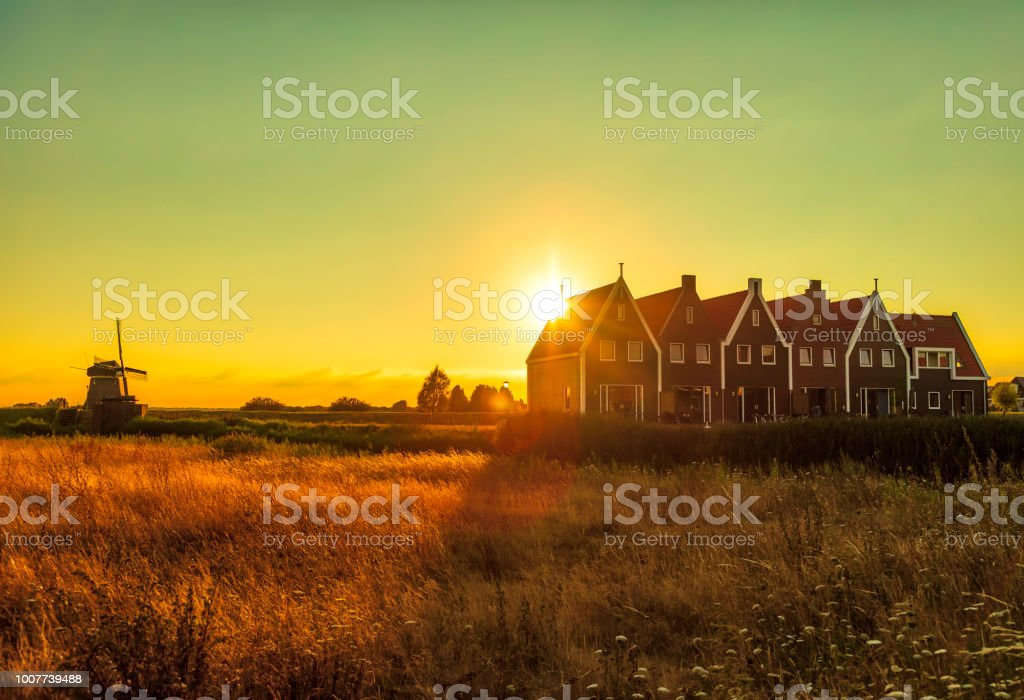 Volendam - small historical Dutch village (HDRi) stock photo