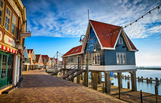 Volendam, the Netherlands just after sunrise. stock photo