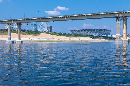 Volgograd, Russia - July 21 2019: view from the Volga river on Volgograd Arena stadium in Volgograd, the stadium of FIFA world championship in Russia in 2018 in the summer day