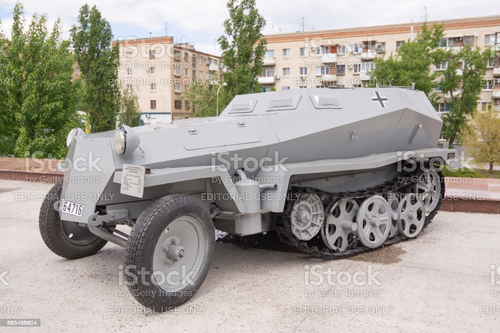 Volgograd. Russia - May 11 2017. German light half-track armored personnel carrier in front of the museum-panorama 'Battle of Stalingrad' in Volgograd stock photo