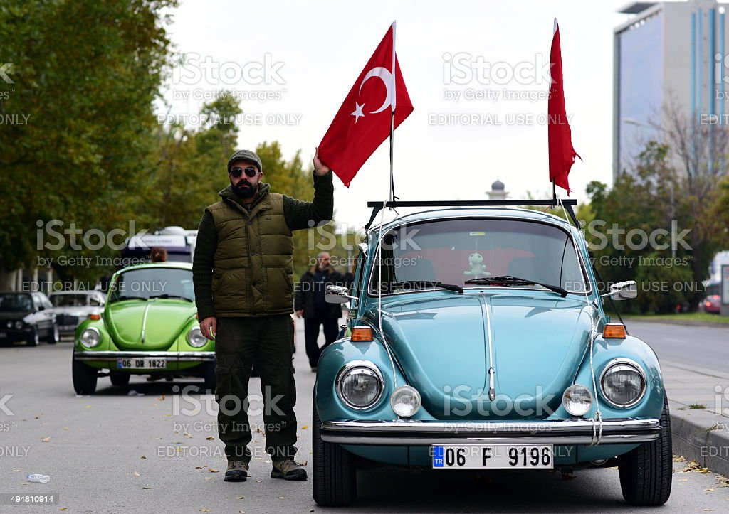 Volkswagen beetle car with Turkish flags stock photo