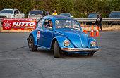 Bangkok, Thailand - February 9, 2019: Volkswagen beetle driver perform gymkhana in volkswagen club meeting in Siam VW festival