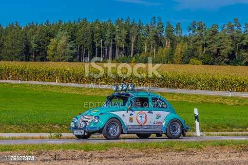 Augsburg, Germany - September 29, 2019: 1961 Volkswagen Beetle german oldtimer car at the Fuggerstadt Classic 2019 Oldtimer Rallye.