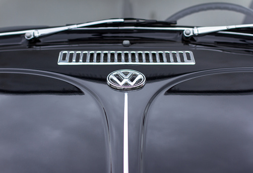 Gorizia, Italy - June 5, 2016: Volkswagen Beetle bonnet logo and grill, parked and exhibited at the old timer car meeting Antiche Scuderie Isontine in the town of Gorizia in Italy