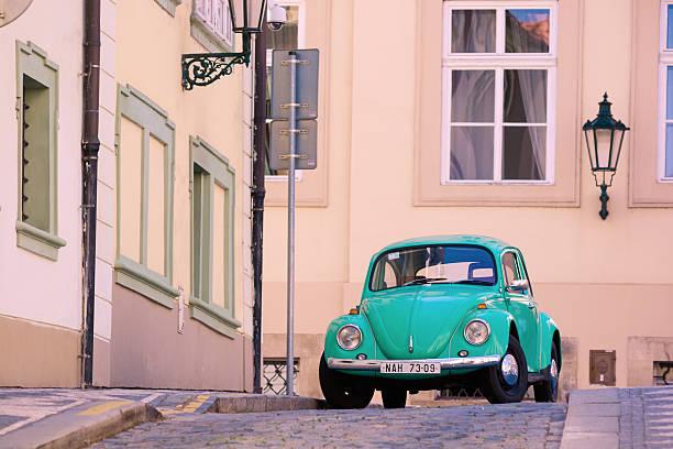 Volkswagen Beetle on streets of Prague, Czech Republic stock photo