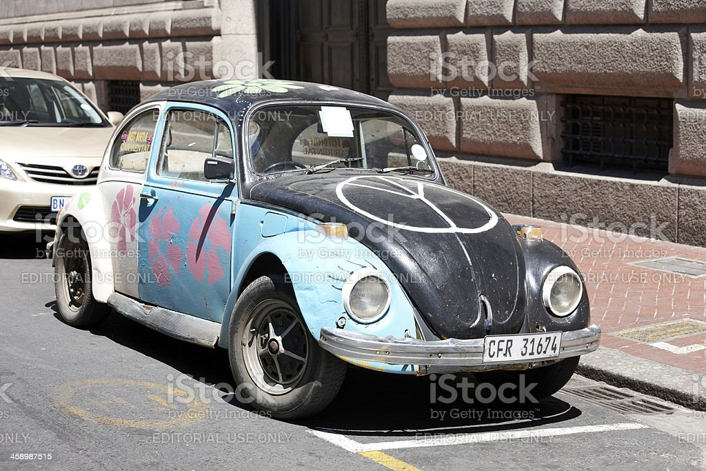 Volkswagen beetle parked in Cape Town street stock photo