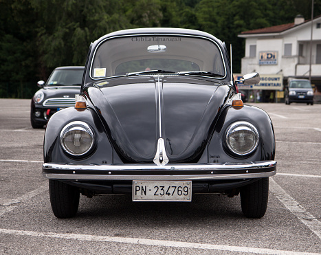 Gorizia, Italy - June 5, 2016: Volkswagen Beetle classic car front side view, parked and exhibited at the old timer car meeting Antiche Scuderie Isontine in the town of Gorizia in Italy