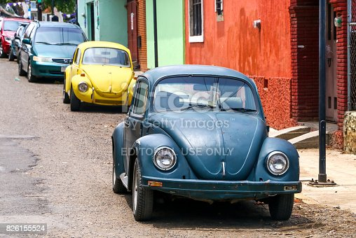 OAXACA, MEXICO - MAY 25, 2017: Motor cars Volkswagen Beetle in the city street.