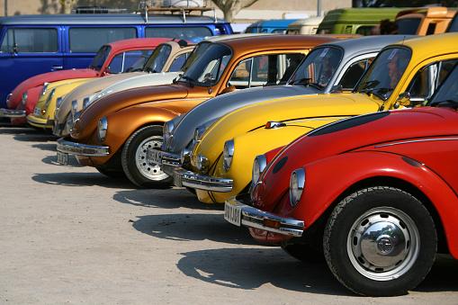 Cap d'Agde, France - September 13, 2009: Volkswagen Beetles exhibited during the 16° Volkswagen Meeting in Cap d'Agde, France, on September 13, 2009.