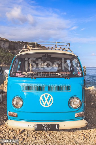 Bali, Indonesia - August 9, 2017 : Classic grey Volkswagen camper van or microbus a classic German utility vehicle built from 1950 and 1967 on the beach