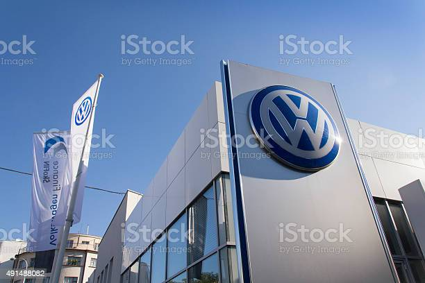 Prague, Czech republic - October 1, 2015: Volkswagen car maker logo on a building of dealership on October 1, 2015 in Prague, Czech republic.