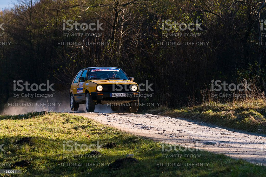 Volkswagen Golf competes at the annual Rally Galicia stock photo