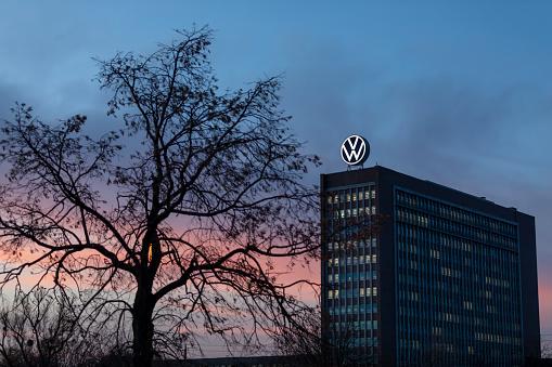 Volkswagen old head-quarters facade in Wolfsburg sunset