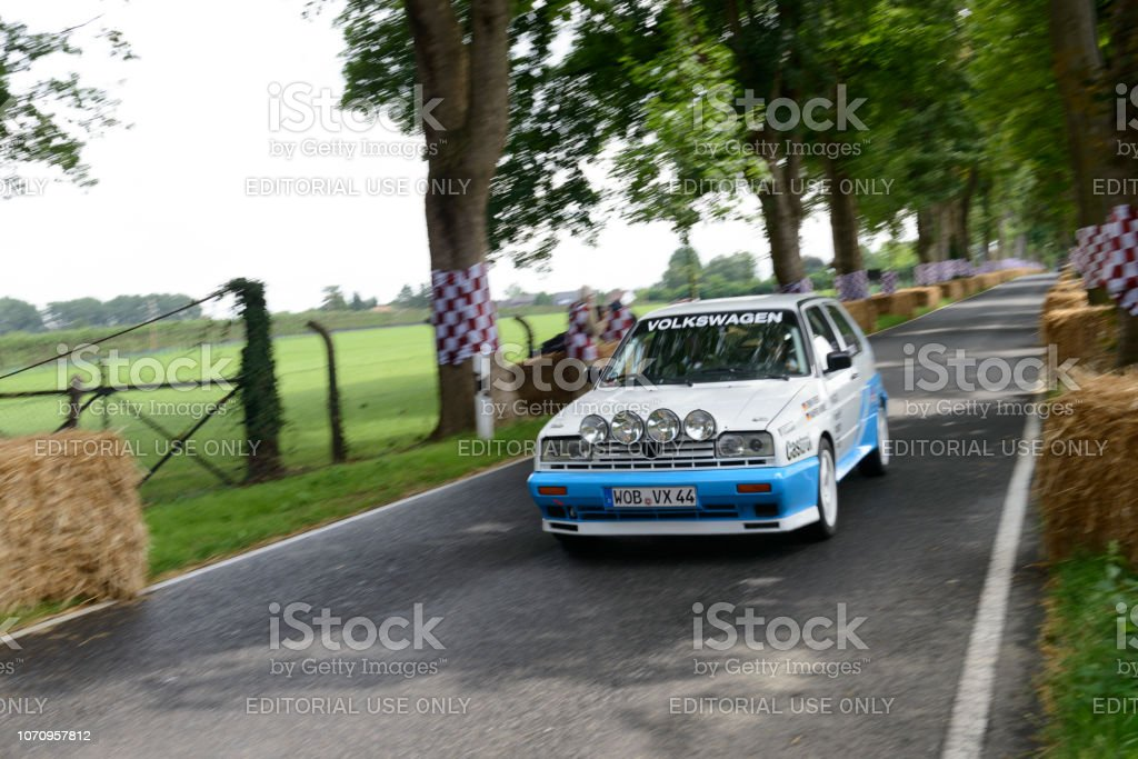Volkswagen Rally Golf G60 Group A rally car driving fast stock photo
