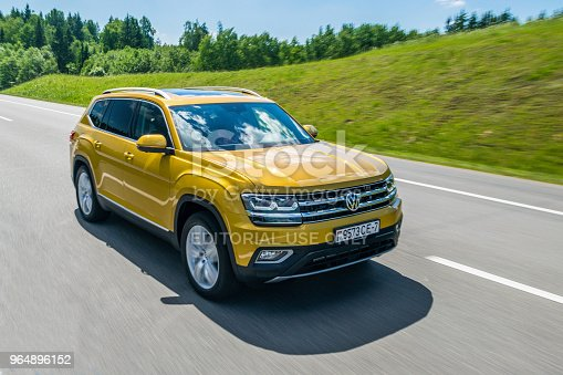 Minsk, Belarus - May 28, 2018: Volkswagen Teramont (known as Atlas in the USA) drives on a road during test-drive. Volkswagen Teramont / Atlas is a three-row seven-seater crossover powered by 2.0 TSI or by 3.6-liter V6. It is available with eight speed automatic gearbox and with all-wheel drive transmission.