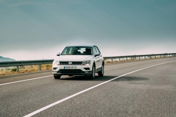 2018 Volkswagen Tiguan SE Nav TSi 1.4 Car Of White Color In Moto stock photo