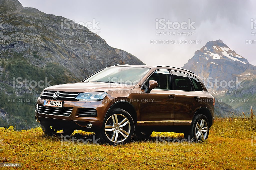 Volkswagen Touareg ІІ in alps mountain stock photo
