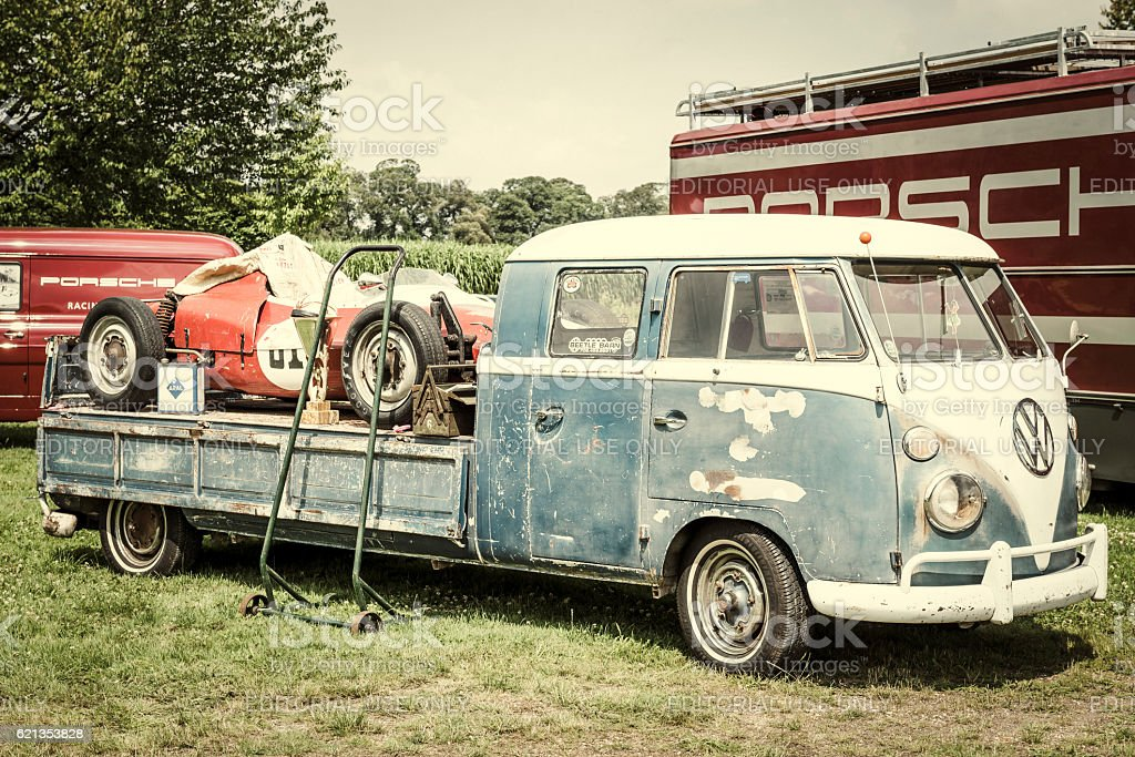 Volkswagen Transporter Flatbed Classic Truck With A Porsche Race Car stock photo   iStock