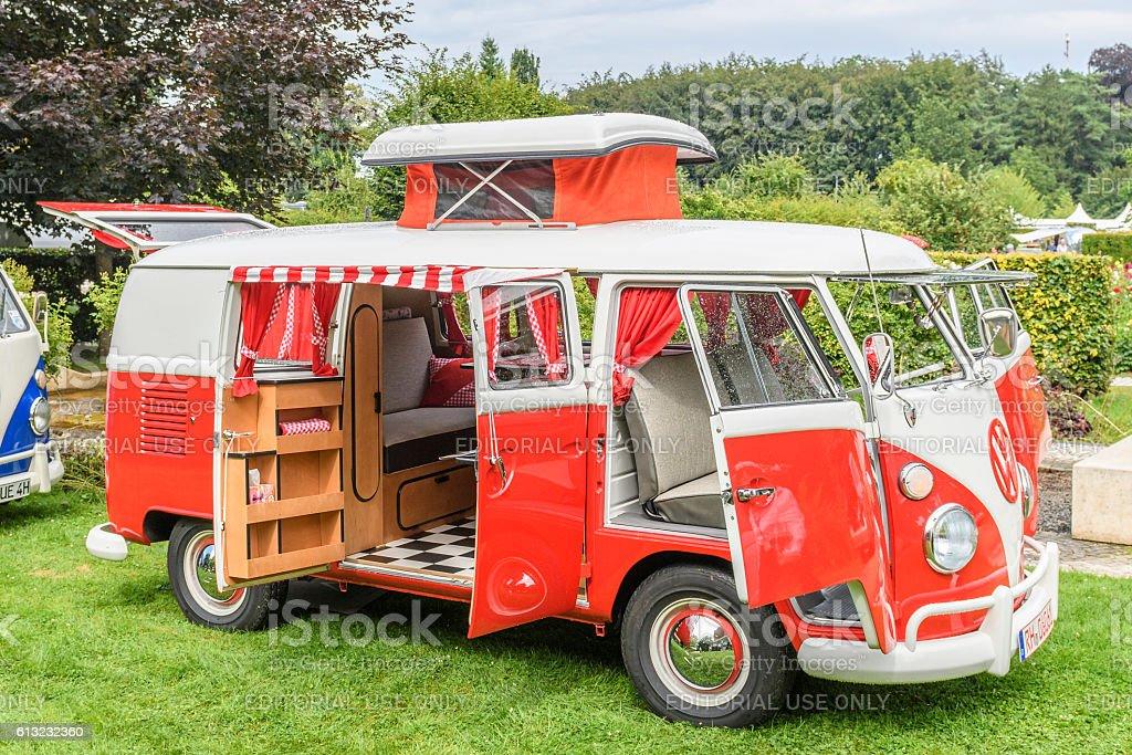Volkswagen Transporter T1 Camper Van in a park stock photo