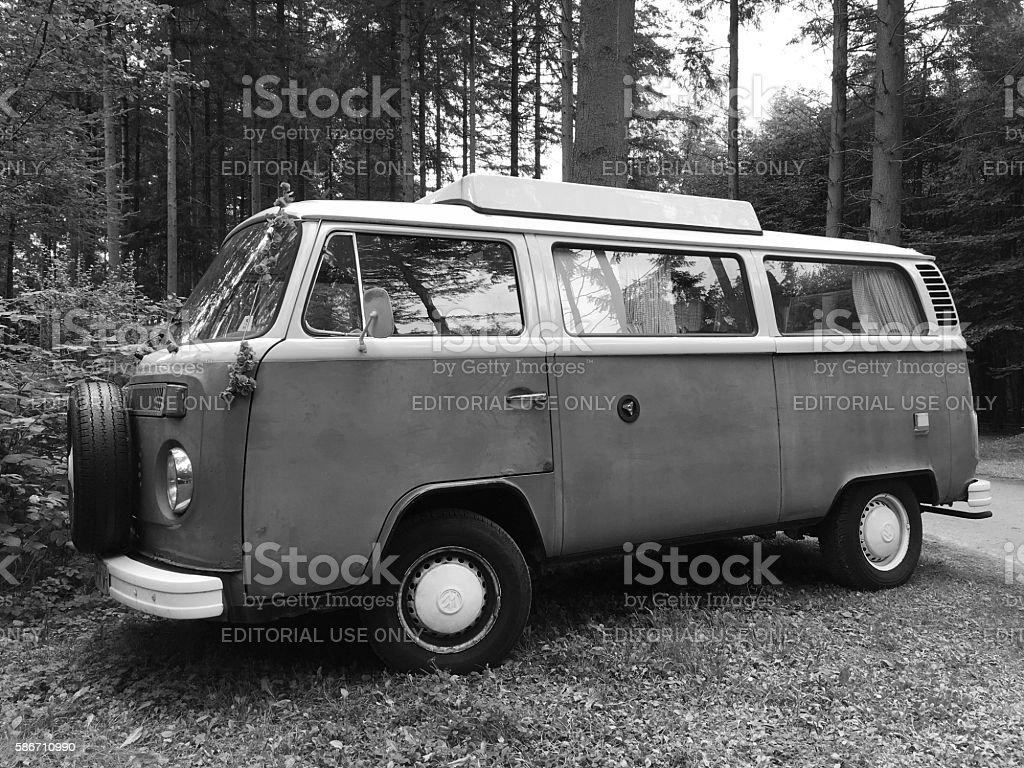 Volkswagen  Type 2 - black and white stock photo