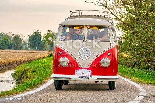 Milan / Italy - October 01, 2016: a vintage German Volkswagen Transporter van traveling on a rural road