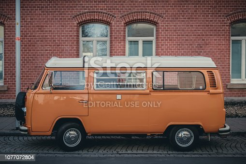 Ludwigsburg, Germany - December 1, 2018: Volkswagen VW Type 2 T2 oldtimer bus on the streets of Ludwigsburg.