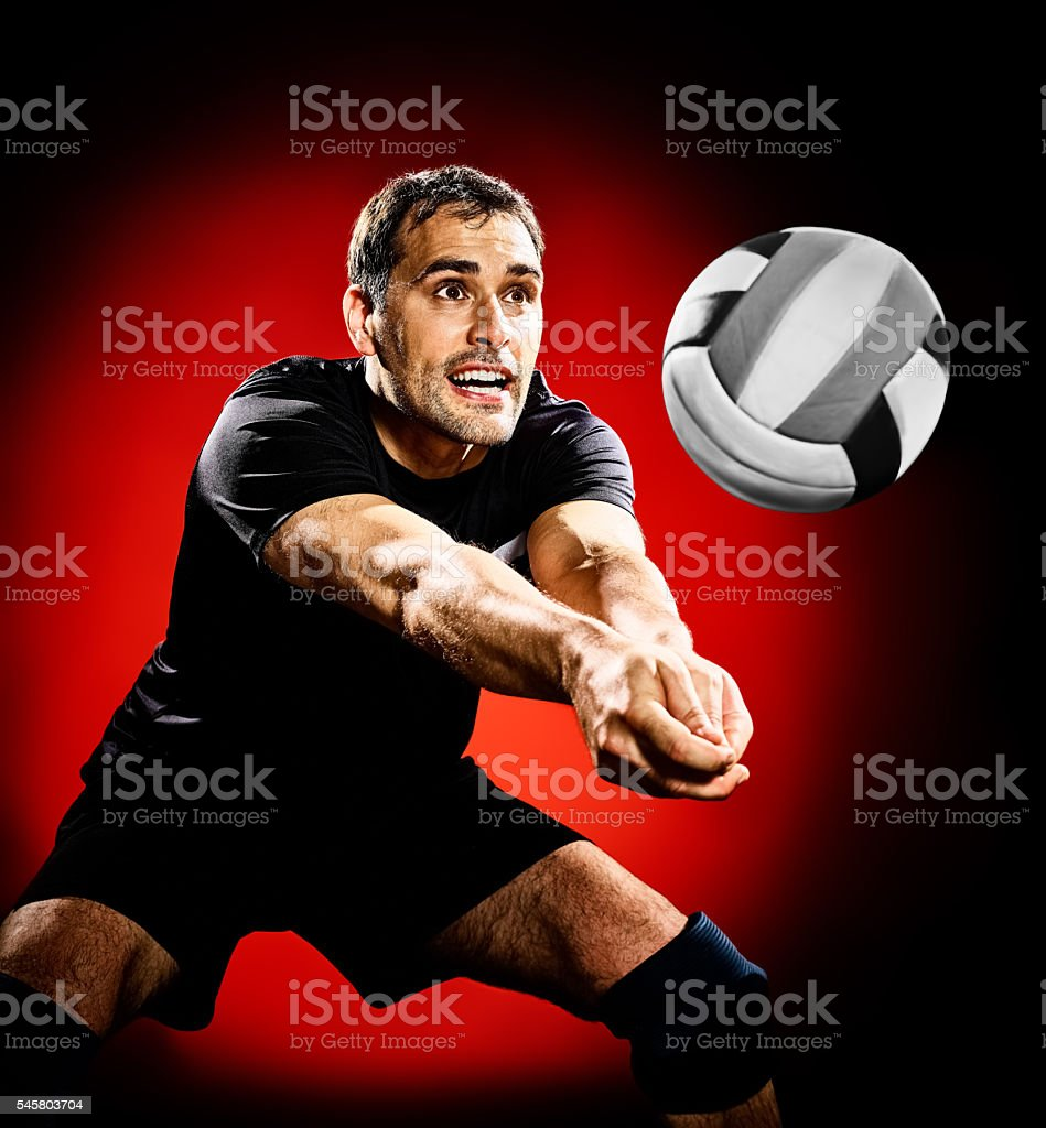 volley ball player man isolated stock photo