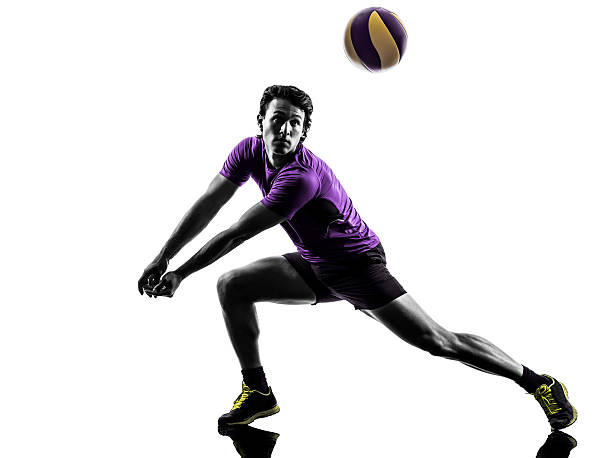 バレーボール選手男性シルエット、白色背景 - バレーボール ストックフォトと画像