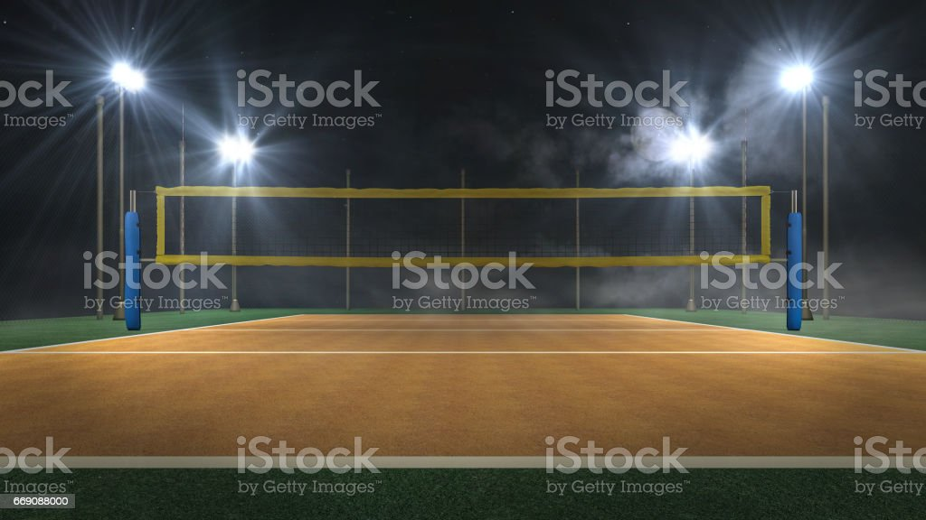Volleyball arena at night 3d rendering stock photo