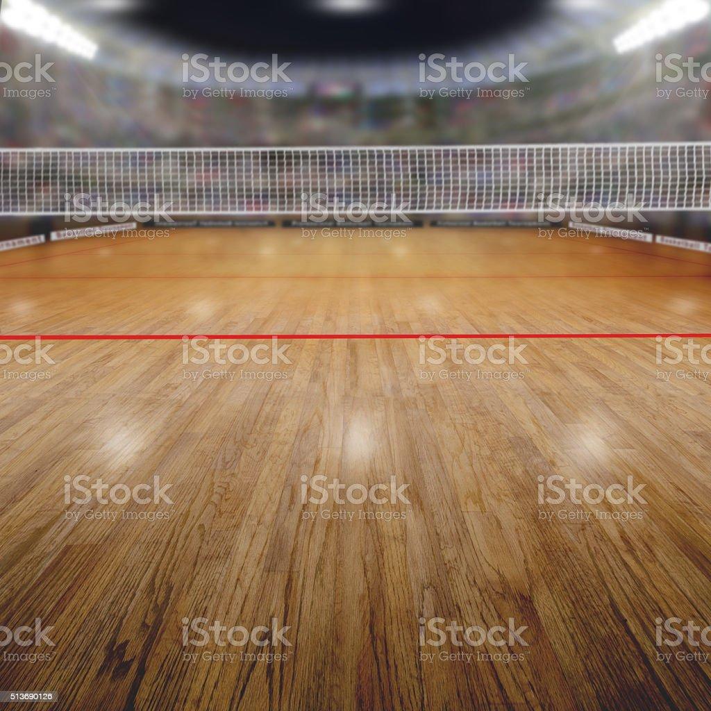Voleibol en la Arena con espectadores y espacio de copia - foto de stock
