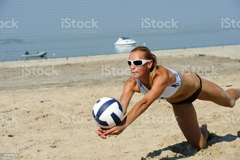 Volleyball attractive action royalty-free stock photo