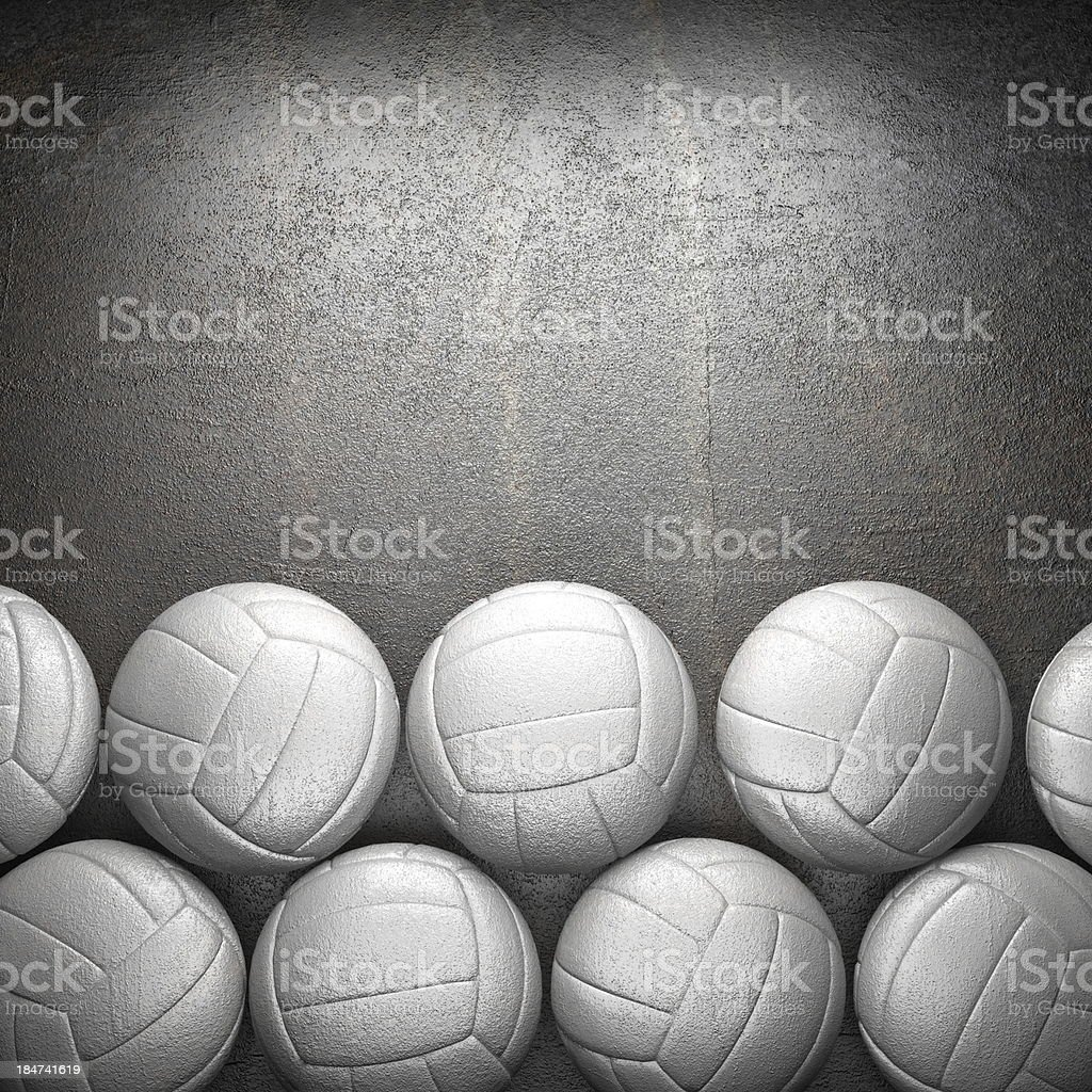 Volleyball ball and metal wall background stock photo