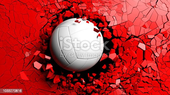 Sports concept. Volleyball ball breaking with great force through a red wall. 3d illustration.