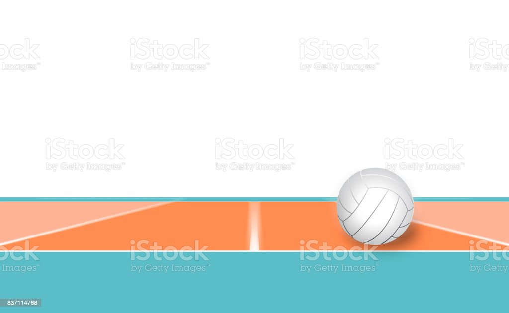 Volleyball ball on Volleyball court stock photo