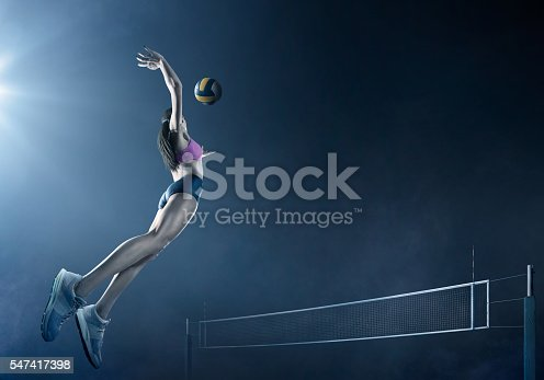 istock Volleyball: Beautiful female player in action 547417398