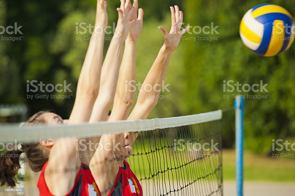 Volleyball block action on the net royalty-free stock photo