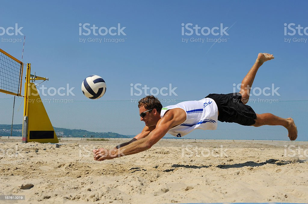 Volleyball defensive action stock photo
