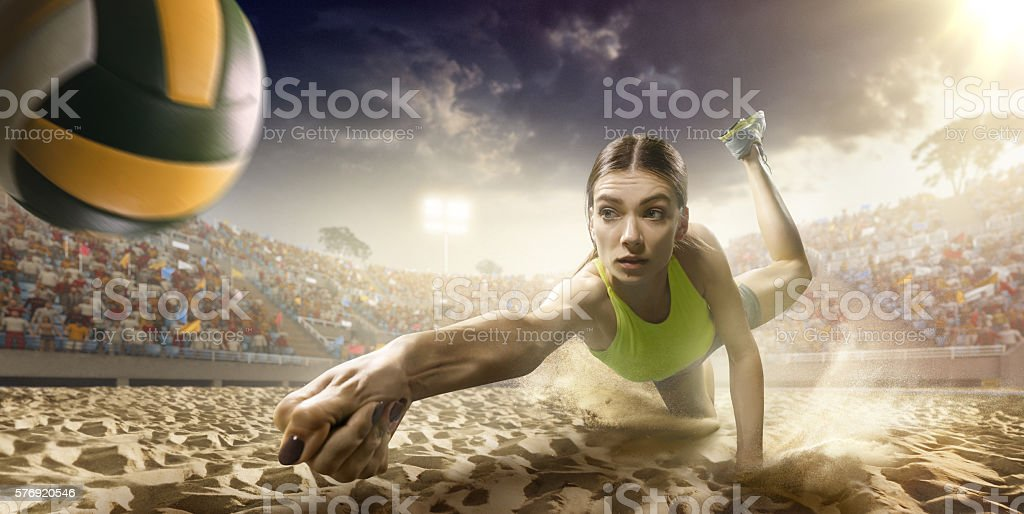 Volleyball: Female player in action stock photo