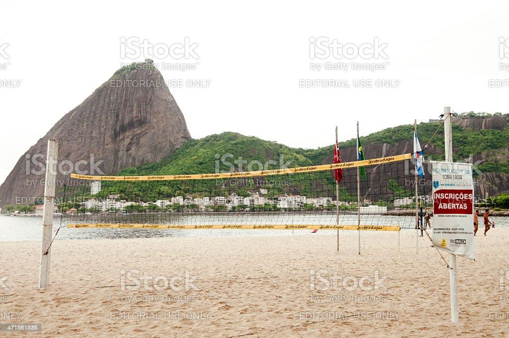 Volleyball/ Footvolley Net, Praia do Flamengo, Rio de Janeiro, Brazil stock photo