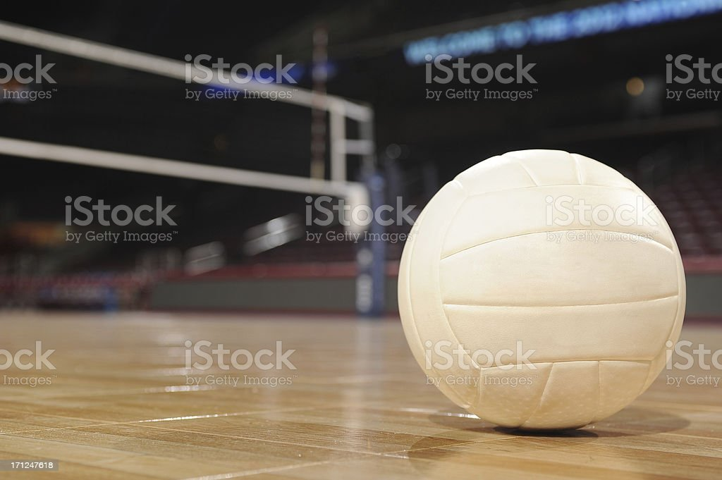 Volleyball in an empty gym royalty-free stock photo