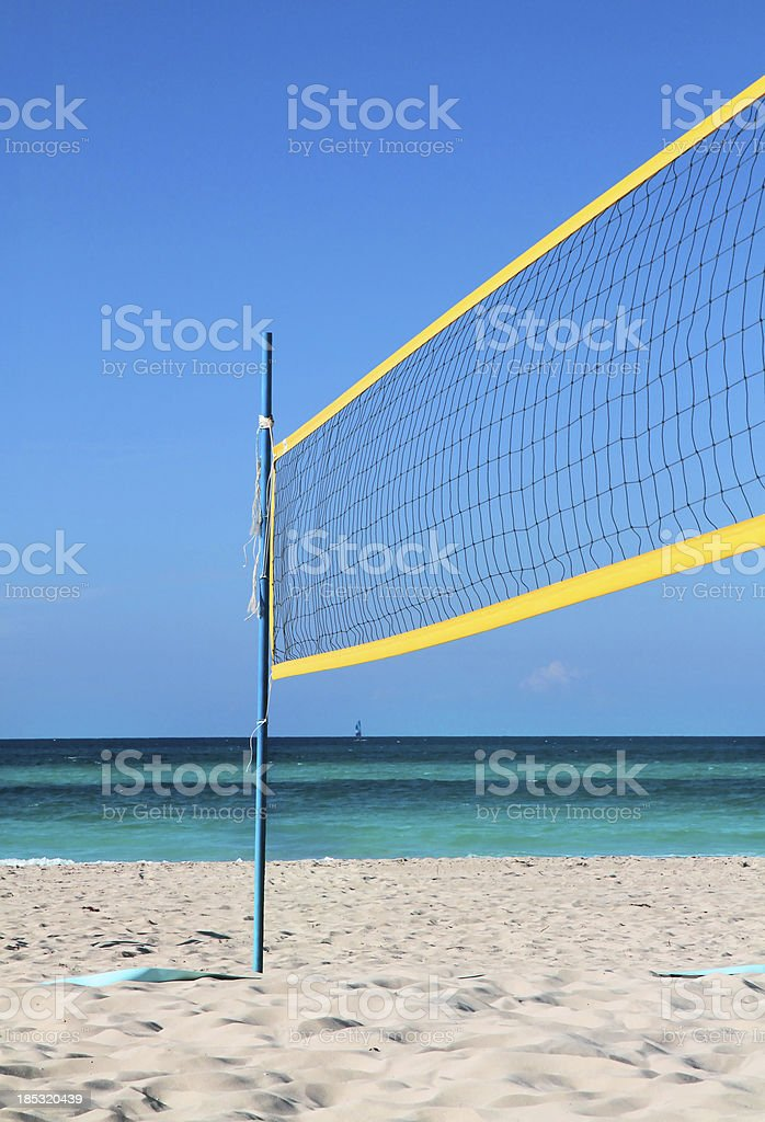 Volleyball net on carribean beach royalty-free stock photo