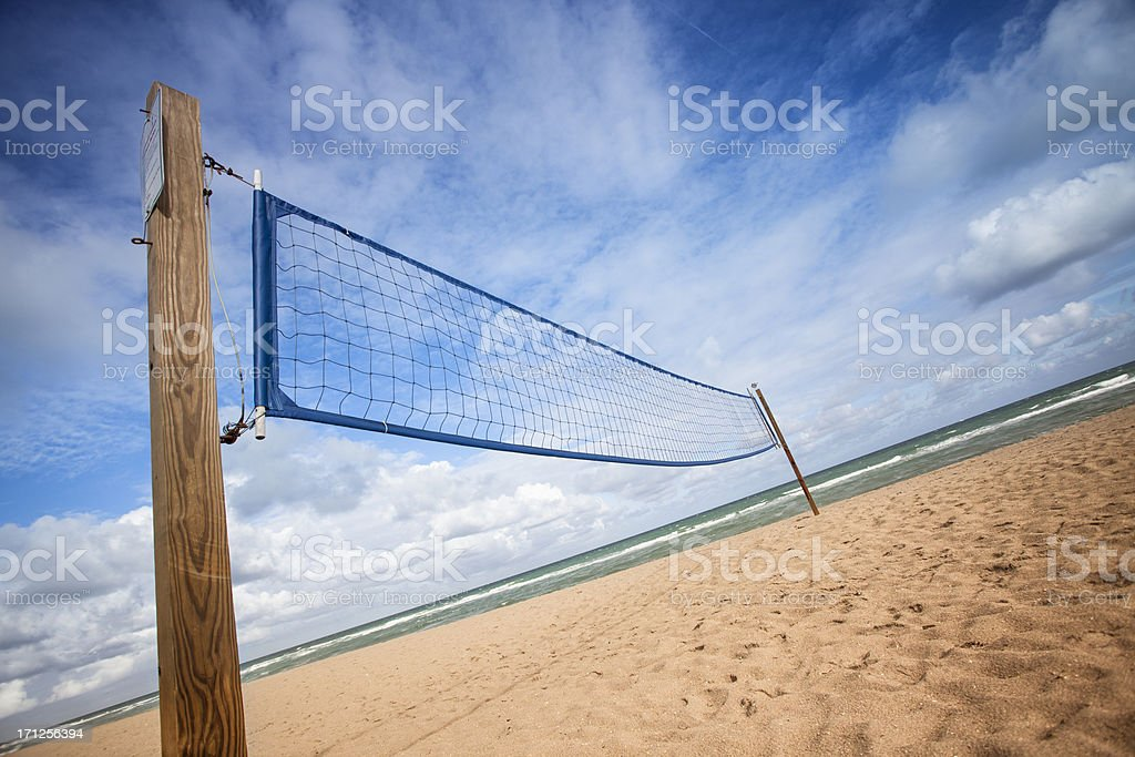 Volleyball net on the sandy beach of Fort Lauderdale royalty-free stock photo
